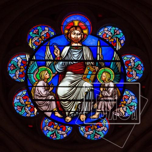 tekoaphotos,christ,siégeant,gloire,vitrail,église,saint-nom,jésus,lyon
