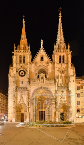 tekoaphotos,église,saint,nizier,façade,nuit