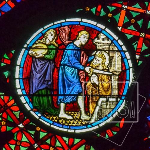 tekoaphotos,martyre,saint,jean-baptiste,salomé,médaillon,rosace,cathédrale,saint-jean,lyon